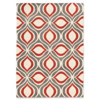 Linon Home Geo Ogee 5' x 7' Area Rug in Grey/Red