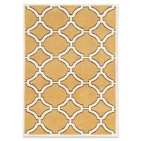 Linon Home Geometric Lattice 2' x 3' Accent Rug in Gold