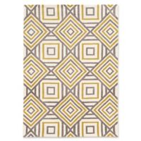 Linon Home Geometric Squares 5' x 7' Area Rug in Ivory/Gold