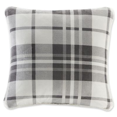 Woolrich® Plaid Plush To Berber Square Throw Pillow In Grey/Charcoal