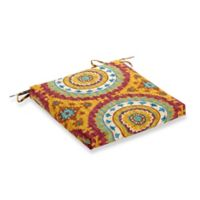Print Outdoor Square Bistro Cushion in Sunset Red