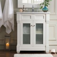 James Martin Furniture Weston 30-Inch Single Vanity with Glass Doors in Cottage White