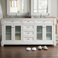 James Martin Furniture Weston 72-Inch Double Vanity with Glass Doors in Cottage White
