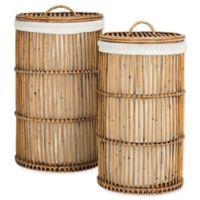 Safavieh Libby Rattan Storage Hamper with Liner in Honey