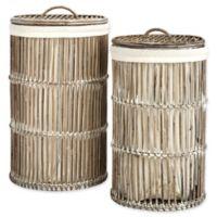 Safavieh Libby Rattan Storage Hamper with Liner in White Wash