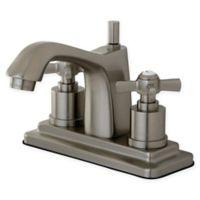 Kingston Brass 2-Handle 4-Inch Centerset Lavatory Faucet in Satin Nickel