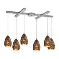 Elk Lighting Geval Track Top 6-Light Pendant in Satin Nickel with Brown Glass Shades