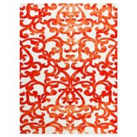 Amer Shibori Tie-Dye Regal Vine 8' x 11' Area Rug in White/Orange