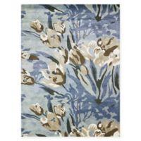 Amer Shimmer Floral 7'6 x 9'6 Area Rug in Aqua