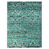 Amer Silkshine Floral 5' x 8' Area Rug in White/Aqua