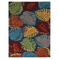 Amer Rugs Piazza 7'6 x 9'6 Indoor/Outdoor Leaves Area Rug in Blue