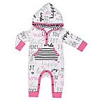 Boppy® Size 9M Words Hooded Coverall in White