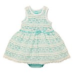 Baby Starters® Size 18M 2-Piece 3D Bow Dress and Diaper Cover Set in Aqua