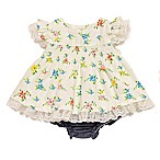 Baby Starters® Size 3M 2-Piece Retro Flower Dress and Diaper Cover Set in White