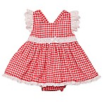 Baby Starters® Size 9M 2-Piece Check Seersucker Dress and Diaper Cover Set in Red