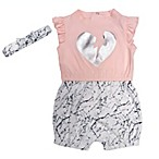 Mini Heroes Size 3M 2-Piece Broken Heart Romper and Headband Set in Pink
