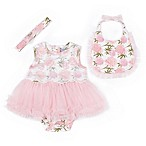 Nicole Miller Size 0-3M Rose Bodysuit, Bib and Headband Set in Pink