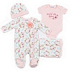 Nicole Miller Size 3-6M 4-Piece Floral Footie, Bodysuit, Blanket and Hat Set