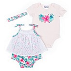 Nicole Miller Size 3-6M 3-Piece Palms Bodysuit, Romper and Headband Set in Peach