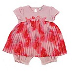Kidding Around Size 12M Pleated Georgette Romper in Pink