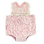Kidding Around Size 6M Lace Romper in Pink