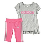 adidas® Size 9M 2-Piece 3 Stripe Melange Cap-Sleeve Top and Capri Tight Set in Grey
