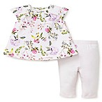 Little Me® Size 12M 2-Piece Botanical Tunic and Legging Set in Pink