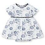 Little Me® Size 3M Floral Bodysuit Dress in Blue/White