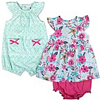 Baby Essentials Size 3M 3-Piece Geometric Romper and Floral Dress and Diaper Cover Set in Mint/Pink