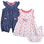Baby Essentials Newborn 3-Piece Flower Romper, Dress and Diaper Cover Set in Blue/Pink