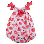 Baby Essentials Size 9M Bow Tie Sleeve Floral Romper in Coral