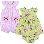 Baby Essentials Size 9M 3-Piece Dress, Romper and Diaper Cover Set in Green/Pink