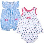 Baby Essentials Size 3M 3-Piece Romper, Dress, and Diaper Cover Set in Blue/Pink