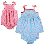 Baby Essentials Size 3M 3-Piece Romper and Flamingo Dress with Diaper Cover Set in Coral/Blue