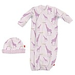 Magnetic Me by Magnificent Baby Newborn 2-Piece Giraffe Gown and Hat Set in Pink