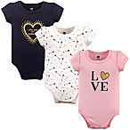 "Hudson Baby® Size 3-6M 3-Pack ""Love"" Short Sleeve Bodysuits"