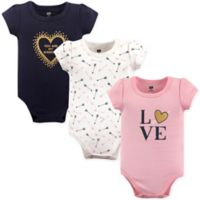 "Hudson Baby® Size 12-18M 3-Pack ""Love"" Short Sleeve Bodysuits"