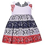 Bonnie Baby 2-Piece Sleeveless American Dress and Panty Set in Red/White/Blue