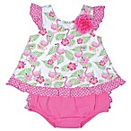 Nanette Baby® Size 0-3M 2-Piece Flamingo Shirt and Diaper Cover Set in White/Pink
