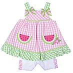 Nanette Baby® Size 6-9M 2-Piece Watermelon Seersucker Shorts Set in Pink