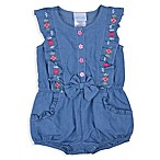 Nanette Baby® Size 0-3M Denim Flower Embroidered Romper in Blue