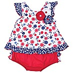 Nanette Baby® Size 12M 2-Piece Floral Shirt and Diaper Cover Set in Red/Blue