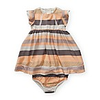 Jessica Simpson Size 12M 2-Piece Striped Dress and Diaper Cover Set in Papaya Punch