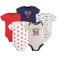 """Hudson Baby® Size 12-18M 5-Pack """"Let's Get Cray"""" Short Sleeve Bodysuits Navy/Red"""