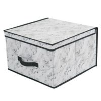 Simplify Non-Woven Extra Large Storage Box in White Marble