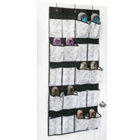 Simplify Non-Woven 20-Pocket Over-the-Door Hanging Shoe Organizer in White Marble