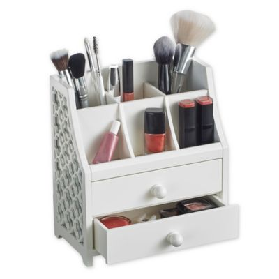 fa9f1556af9f 2-Drawer Cosmetic Organizer in White