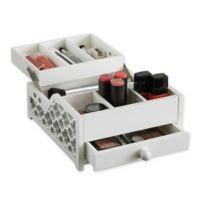 Cosmetic Organizer with Lift-Up Tray in White