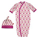 Magnetic Me by Magnificent Baby® Newborn 2-Piece Damask Gown and Hat Set in Pink