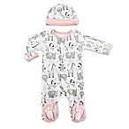 Baby Aspen® Size 0-6M 2-Piece Safari Pajama Gift Set in Pink